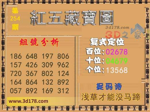 3d第2018254期红五藏宝图推荐个位:13568