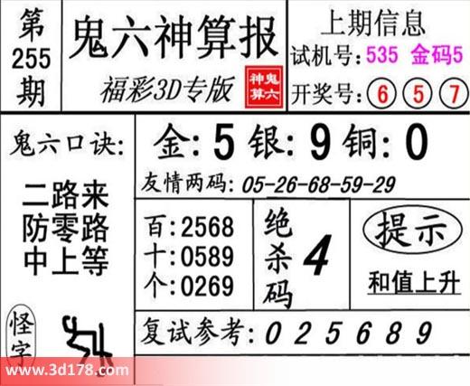 鬼六神算报3d第2018255期推荐绝杀码:4