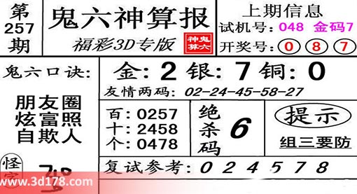 鬼六神算报3d第2018257期推荐绝杀码:6