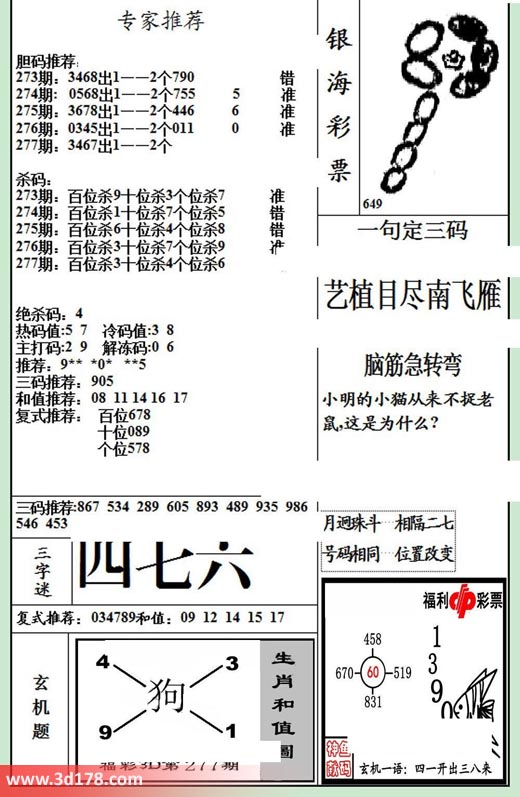银海布衣3d第2018277期三字谜:四七六