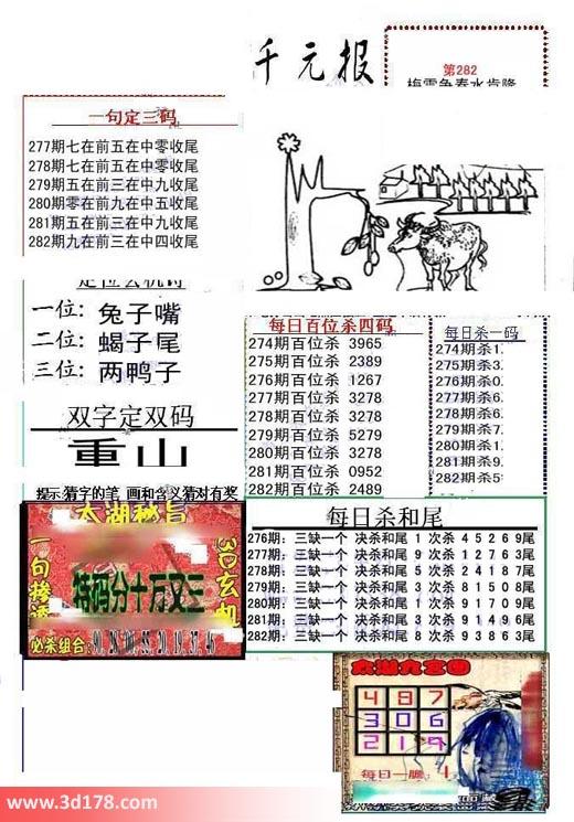 布衣千元报3d第2018282期每日杀一码:5