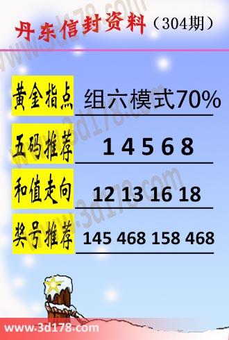 丹东信封资料图3d第2018304期黄金指点:组六模式70%