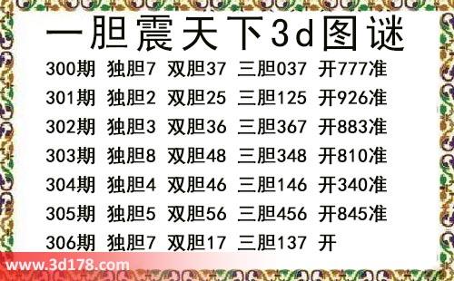 3d第2018306期一胆震天下三胆推荐:137
