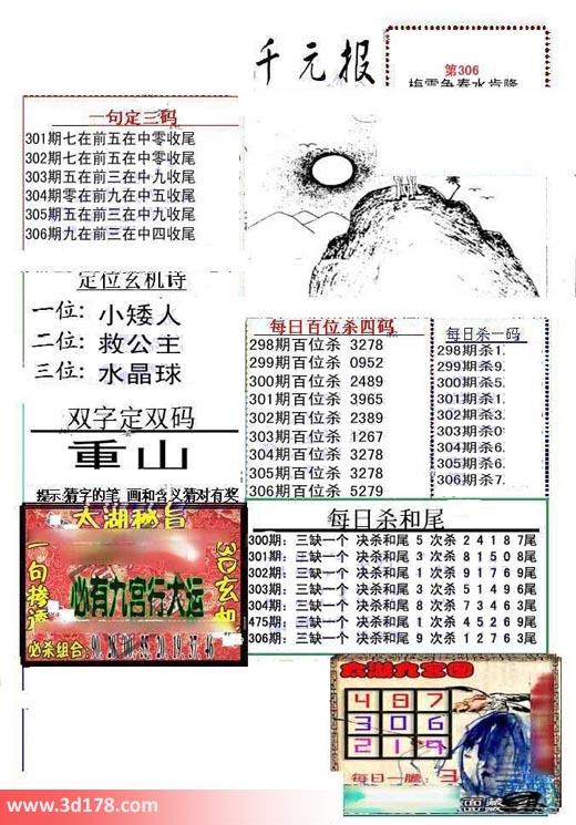 布衣千元报3d第2018306期每日杀一码:7