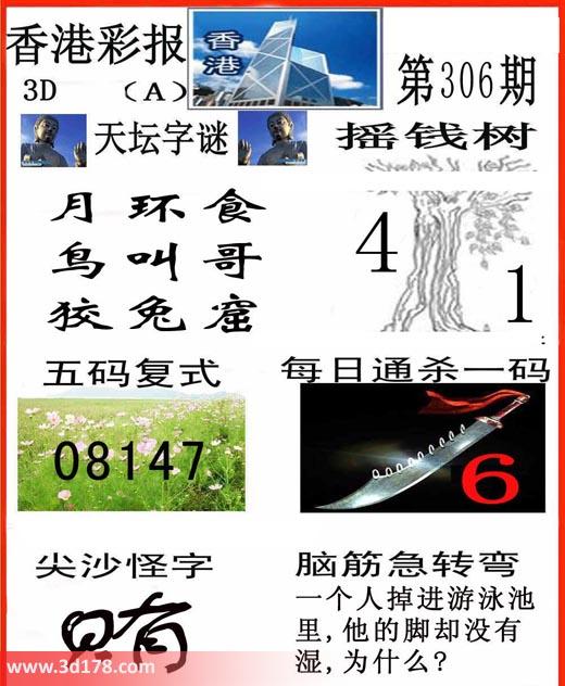 香港彩报3d第2018306期推荐五码复式:08147