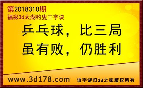 3d第2018310期太湖图库解字谜:乒乓球,比三局