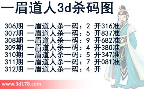 第2018312期一眉道人3d杀码图杀一码:4