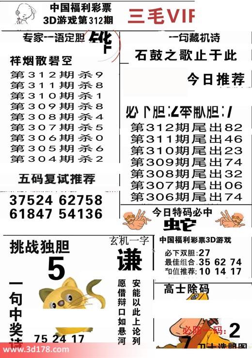 三毛图库3d第2018312期必下胆:2
