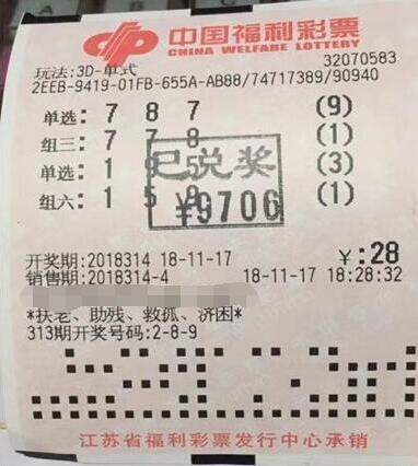 福彩3d第2018314期倍投中奖票样