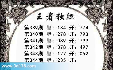 第2018344期3d王者三胆本期推荐:关注235