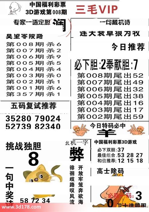 三毛图库3d第2019008期今日特码必中:羊