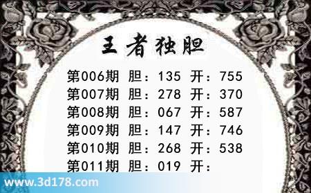 第2019011期3d王者三胆本期推荐:关注019