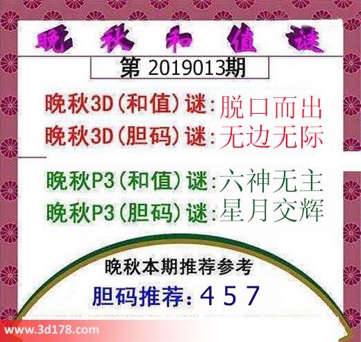 3d红五晚秋图第2019013期胆码推荐:457