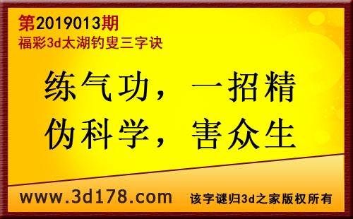 3d第2019013期太湖图库解字谜: 练气功,一招精