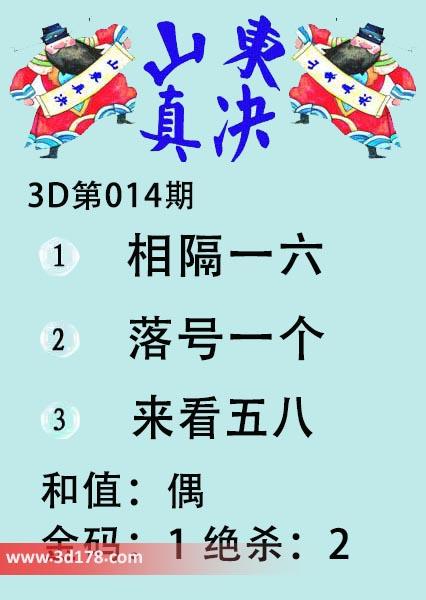 3d山东真诀图第2019014期推荐金码:1