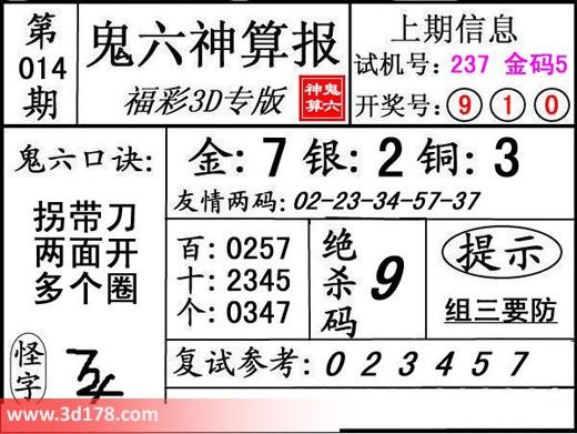 鬼六神算报3d第2019014期推荐金胆:7
