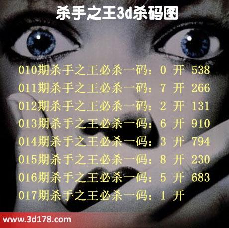3d杀手之王第2019017期杀码图推荐:杀1