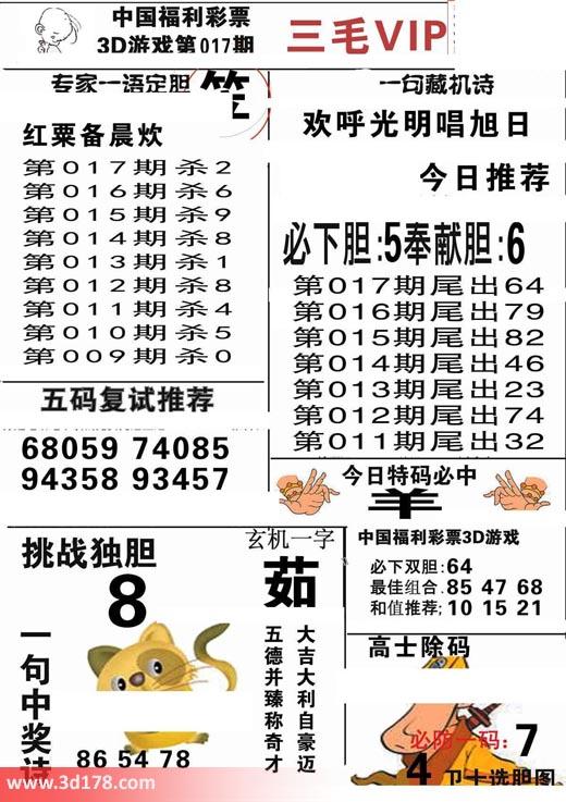 三毛图库3d第2019017期挑战独胆:8