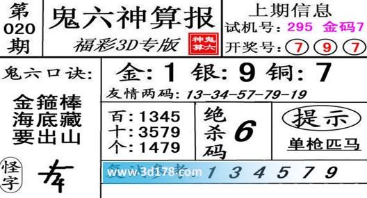 鬼六神算报3d第2019020期推荐复式参考:134579