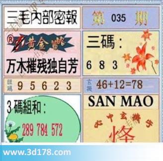第2019035期3d三毛内部密报图三码推荐:368