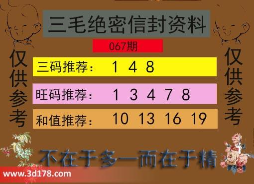 3d第2019067期三毛绝密信封资料三码推荐:148
