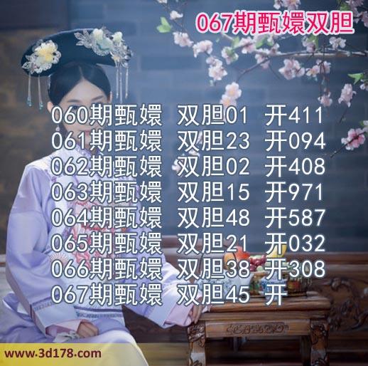 甄嬛双胆图3d第2019067期推荐双胆:45
