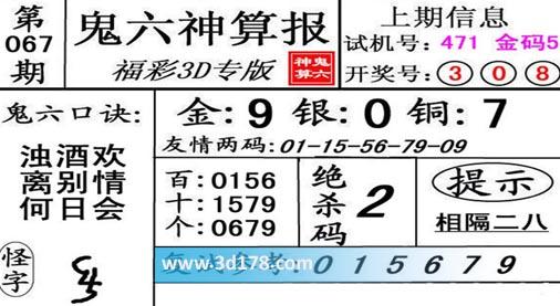 鬼六神算报3d第2019067期推荐个位:0679