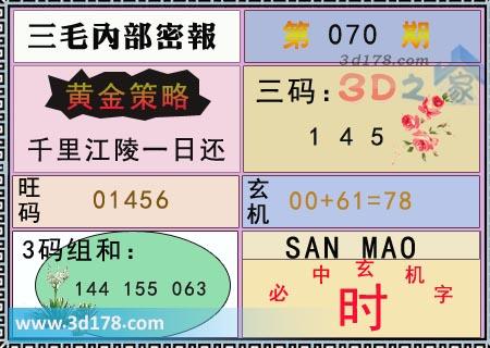 第2019070期3d三毛内部密报图旺码推荐:01456