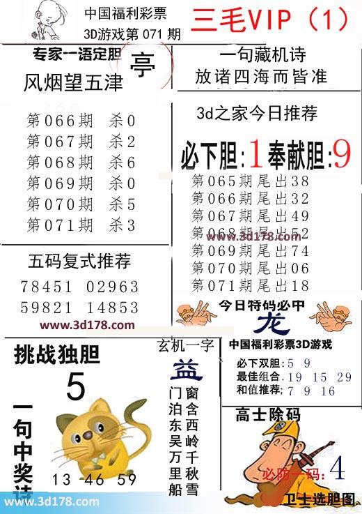 三毛图库3d第2019071期今日特码必中:龙