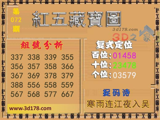 3d第2019072期红五藏宝图推荐百位:01458