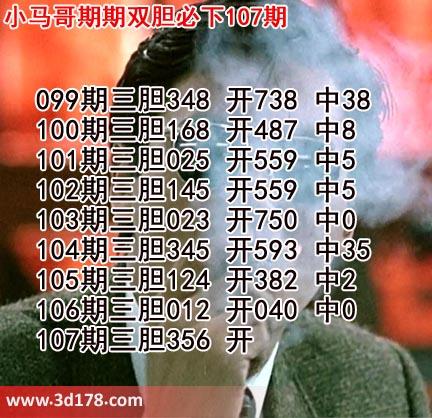 小马哥3d第19107期预测分析推荐:三胆356