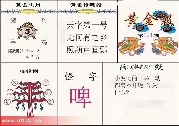 3d第2019121期黄金报尾数推荐黄金生肖:猪狗羊鸡