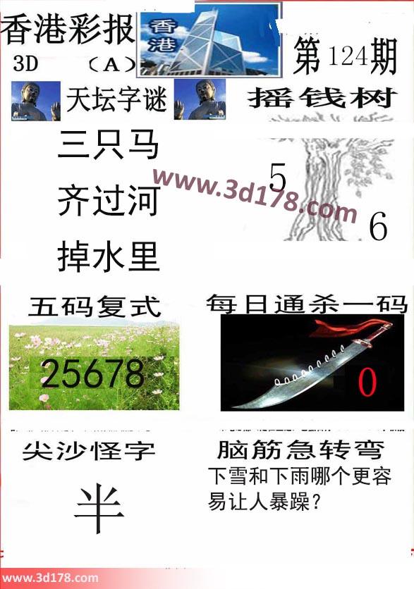 香港彩报3d第2019124期每日通杀一码:0
