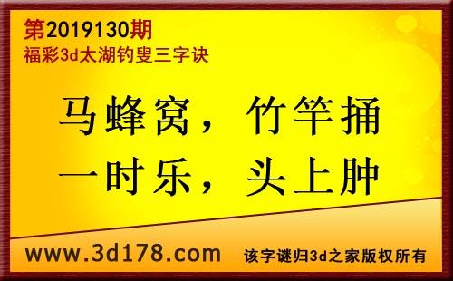 3d第2019130期太湖图库解字谜:马蜂窝,竹竿捅