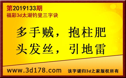 3d第2019133期太湖图库解字谜:多手贼,抱柱肥