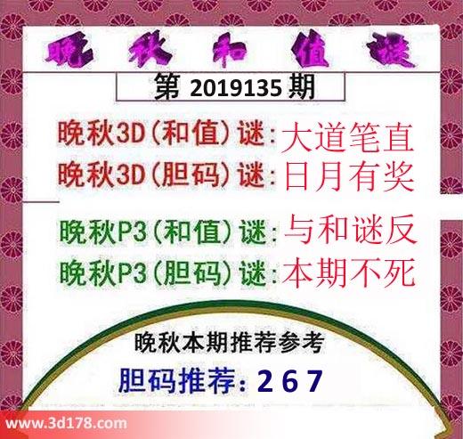 3d红五晚秋图第2019135期和值谜:大道笔直