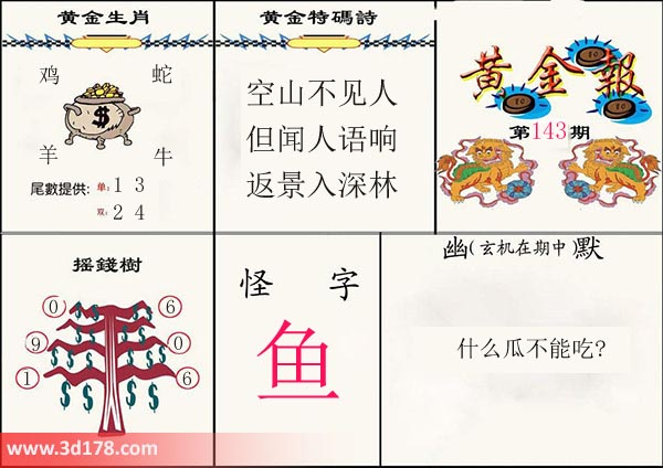 3d第2019143期黄金报摇钱树推荐怪字:鱼