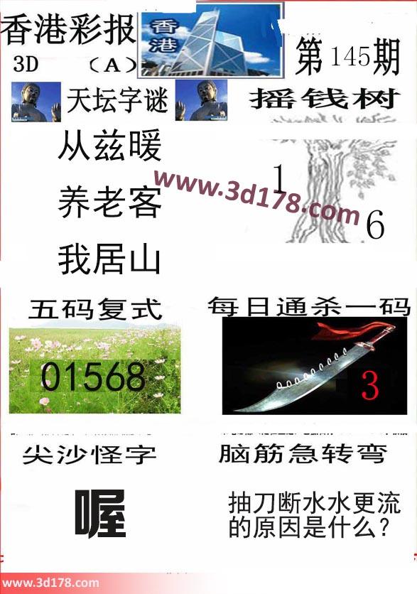 香港彩报3d第2019145期推荐五码复式:01568