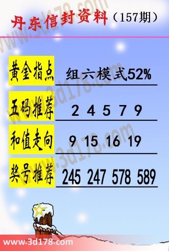 丹东信封资料图3d第2019157期黄金指点:组六模式52%