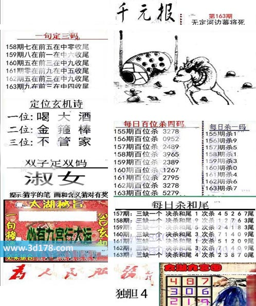 布衣千元报3d第2019163期每日杀一码:7