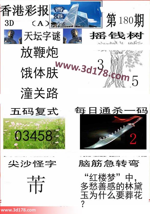 香港彩报3d第2019180期推荐五码复式:03458