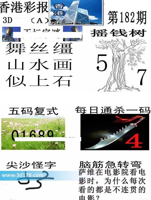 香港彩报3d第2019182期推荐每日通杀一码:4