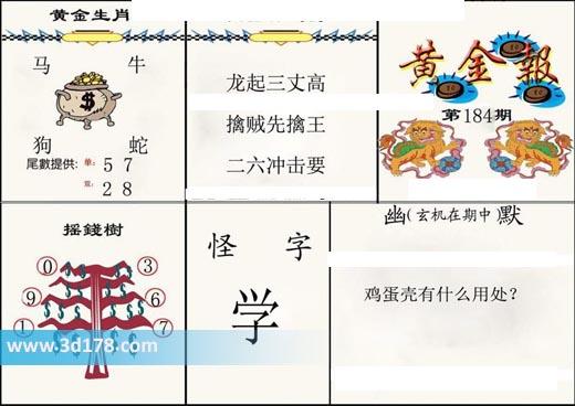 3d第2019184期黄金报尾数推荐黄金生肖:马牛狗蛇