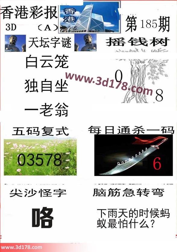 香港彩报3d第2019185期推荐摇钱树:0 8