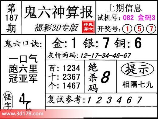 鬼六神算报3d第2019187期推荐绝杀码:8