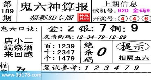 鬼六神算报3d第2019189期推荐金胆:2