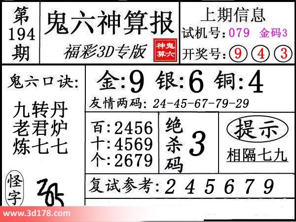 鬼六神算报3d第2019194期推荐金胆:9