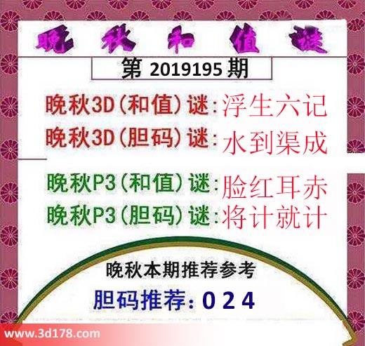 3d红五晚秋图第2019195期胆码推荐:024