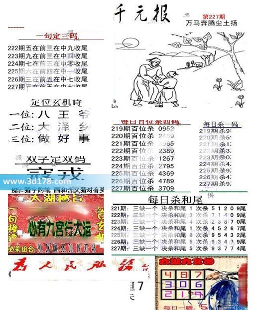 布衣千元报3d第2019227期推荐每日杀一码:9