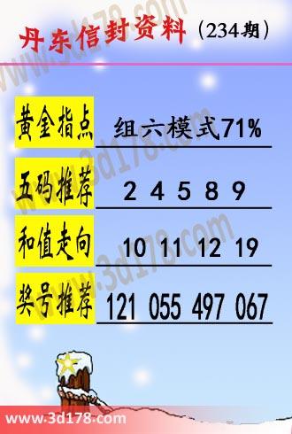 丹东信封资料图3d第2019234期黄金指点:组六模式71%